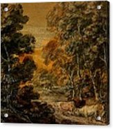 Wooded Landscape With Herdsman And Cattle Acrylic Print
