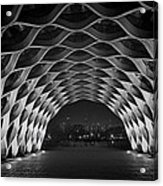 Wooden Archway With Chicago Skyline In Black And White Acrylic Print