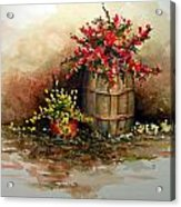 Wooden Barrel With Flowers Acrylic Print
