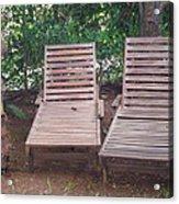 Wooden Beach Chairs Acrylic Print