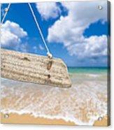 Wooden Beach Sign Algarve Portugal Acrylic Print by Amanda Elwell