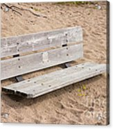 Wooden Bench Burried In The Sand Acrylic Print