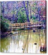 Wooden Bridge Over Pond Acrylic Print