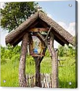 wooden shrine of holy Mother in Poland  Acrylic Print