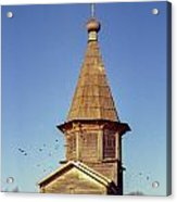 Wooden Church And Birds. Old Film Camera. Acrylic Print