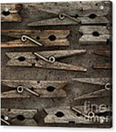 Wooden Clothespins Acrylic Print