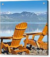 Wooden Deckchairs Overlooking Scenic Lake Laberge Acrylic Print