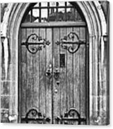 Wooden Door At Tower Hill Bw Acrylic Print by Christi Kraft