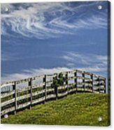 Wooden Farm Fence On Crest Of A Hill Acrylic Print
