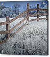Wooden Fence Of A Friesian Horse Pasture On Windmill Island Acrylic Print