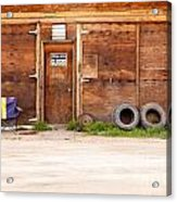 Wooden Gate Of Rural Timber Building Closed Sign Acrylic Print