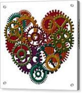 Wooden Gears Forming Heart Shape Illustration Acrylic Print
