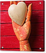 Wooden Hand With White Heart Acrylic Print by Garry Gay