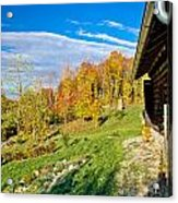 Wooden Lodge In Autumn Mountain Nature Acrylic Print