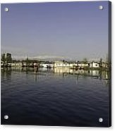 Wooden Logs Mounted In The Middle Of The Dal Lake In Srinagar Acrylic Print