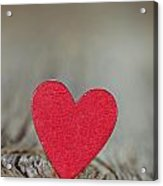 Wooden Red Heart On Rustic Background Acrylic Print