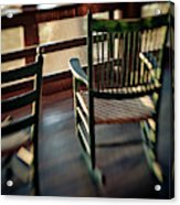 Wooden Rocking Chairs On A Deck Acrylic Print