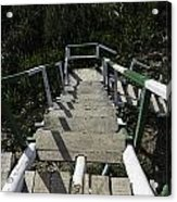 Wooden Steps Coming Down From A Watchtower Acrylic Print