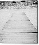 wooden walkway across beach leading down to boats in the sea Playa De Las Teresitas North Tenerife Canary Islands Spain Acrylic Print