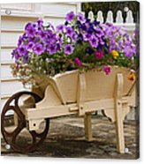 Wooden Wheelbarrow Full Of Flowers Acrylic Print