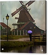 Wooden Windmill In Holland Acrylic Print