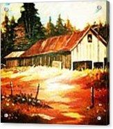 Woodland Barn In Autumn Acrylic Print