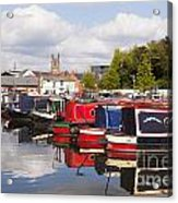 Worcester Diglis Basin Narrow Boats Acrylic Print by Colin and Linda McKie