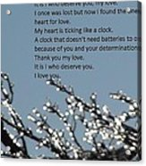 Words Of Love With Glittering Tree Stems Acrylic Print