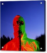 Worker In A Chemical Spillage Suit With A Gas Mask Acrylic Print