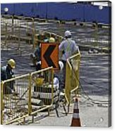 Workers Preparing The Road Surface And Sides Preparing For The Formula 1 Acrylic Print