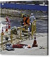 Workers Working On The Road Surface Preparing It For The Formula One Race Acrylic Print