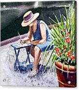 Working Artist Acrylic Print by Irina Sztukowski