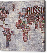 World Map Typography Artwork Acrylic Print