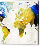 World Map 16 - Yellow And Blue Art By Sharon Cummings Acrylic Print by Sharon Cummings