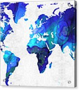 World Map 17 - Blue Art By Sharon Cummings Acrylic Print by Sharon Cummings