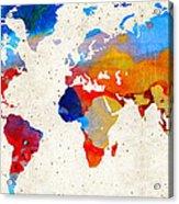 World Map 18 - Colorful Art By Sharon Cummings Acrylic Print