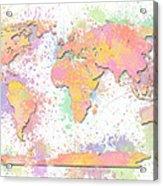 World Map 2 Digital Watercolor Painting Acrylic Print