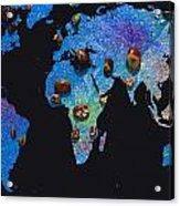 World Map And Sagittarius Constellation Acrylic Print
