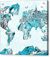World Map Blue Collage Acrylic Print