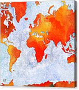 World Map - Citrus Passion - Abstract - Digital Painting 2 Acrylic Print