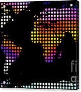 World Map Colourful Dots #2 Acrylic Print