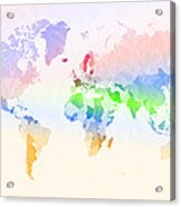 World Map Crumpled Multi-coloured Acrylic Print