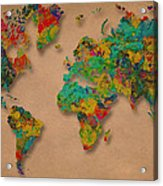 World Map Digital Watercolor Painting  Acrylic Print