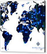 World Map In Blue Lights Acrylic Print