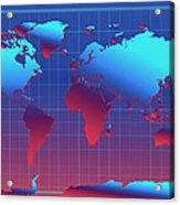 World Map In Blue Acrylic Print