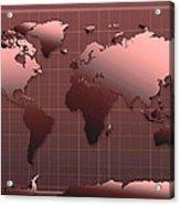 World Map In Dark Red Acrylic Print