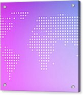 World Map In Dots Against An Abstract Acrylic Print