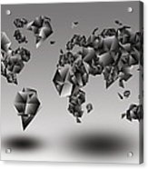 World Map In Geometic Gray  Acrylic Print