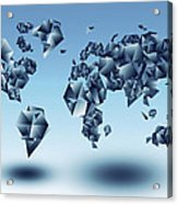 World Map In Geometic Light Blue  Acrylic Print