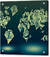 World Map In Geometric Green Acrylic Print